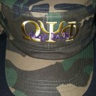 OMEGA PSI PHI CAMOUFLAGE CAP HAT CAMOUFLAGE QUE-DOG MILITARY CADET HAT CAP