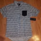 Black White Short Sleeve button up Shirt Hype short sleeve casual dress shirt XL