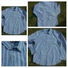 Mens blue white gray button up dress casual shirt Pin Strip slim fit shirt L