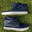 Blue Suede High top sneaker Men's blue sued polyester fashion sneaker boots 10US