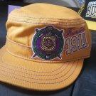 OMEGA PSI PHI FRATERNITY CADET HAT CAP GOLD QUE-DOG MILITARY CADET HAT CAP