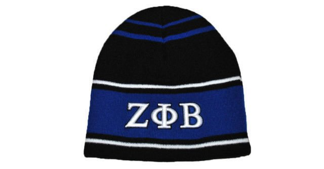 ZETA PHI BETA SORORITY BEANIE HAT SKULL CAP Z-PHI B BLACK BLUE BEANIE 1920