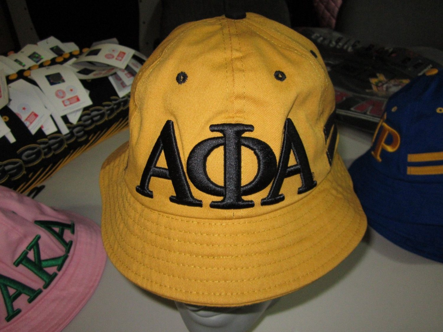 ALPHA PHI ALPHA BLACK GOLD BUCKET HAT BOONIE SAFARI HAT WOODS BUCKET CAP #2