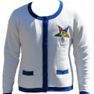 Order of the Eastern Star Cardigan sweater White O.E.S  Cardigan Sweater