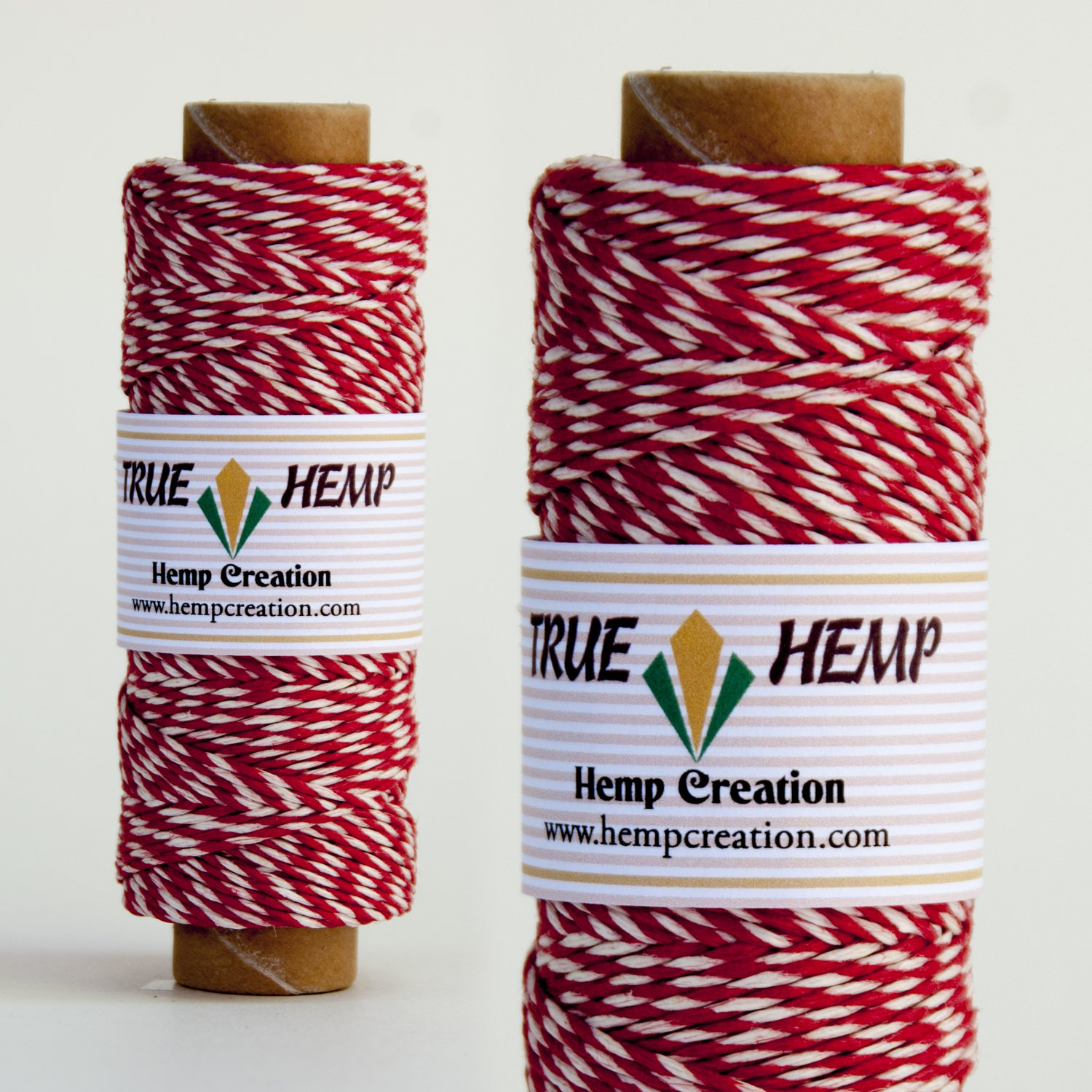 True Hemp cord PAIR TWINE RED/WHITE - 1mm diameter 20lb - 205feet / 62m / 50gram per spool