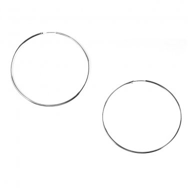 925 Sterling Silver Polished Finish Large Endless Hoop Earrings (2.75 Inches Diameter) A10076E