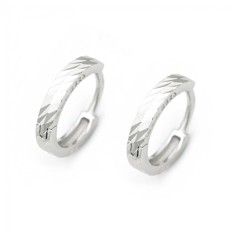 "925 Sterling Silver Polish Finishing Diamond-Cut Huggie Hoop Earrings (0.6"") A10239E"