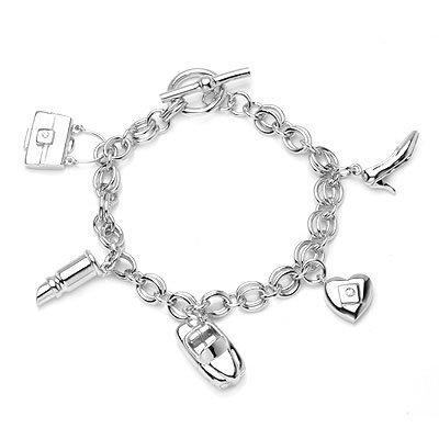 U.S. ONLY - Platinum Plated 925 Silver Charms (High Heel, Heart, Car, Lip Stick, Handbag) B04112B