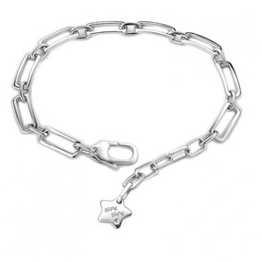 """Platinum Plated 925 Sterling Silver Square Anchor Star Charm Bracelet (7"""") Gift For Her B04692B"""