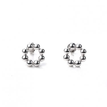 U.S. ONLY - Platinum Plated 925 Sterling Silver Bead Stud Earrings (Diameter 1cm) B05674E