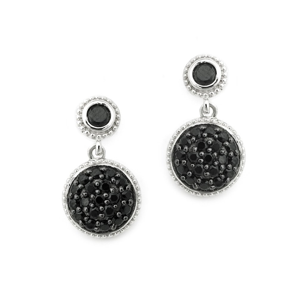 SilverKings 925 Sterling Silver Pave Black CZ Black Circle Stud Earrings Fashion Jewelry  Q23005E