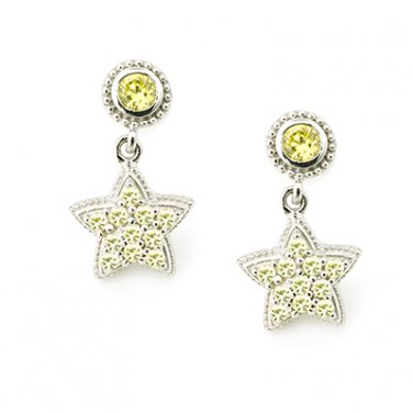 Silver Kings 925 Sterling Silver Pave Yellow CZ Star Dolly Stud Earrings Fashion Jewelry Q23008E