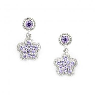 Silver Kings 925 Sterling Silver Pave Purple Lavendar CZ Dolly Stud Earrings Fashion Jewelry Q23002E