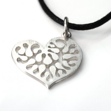 """Silversmith Filigree Hollow Heart 925 Silver Pendant Rope Necklace (18"""") Q16917P"""
