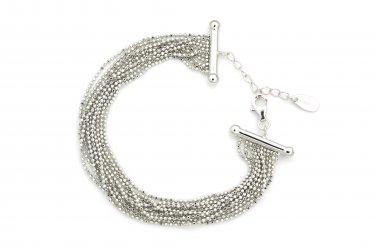 "925 Sterling Silver Beads Chain Dangling Style Bracelet (6.5"""") Women Fashion Jewelry B05899B"