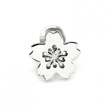 U.S. ONLY - 925 Sterling Silver Polished Finish Cherry Blossom Single Stud Earring C05127L