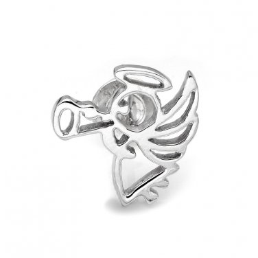 925 Sterling Silver Polished Finish Angel Single Stud Earring C05141L