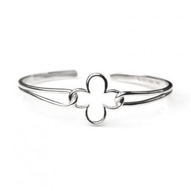 Platinum Plated 925 Sterling Silver Four Leaf Clover Wired Bangle Gift C05209A