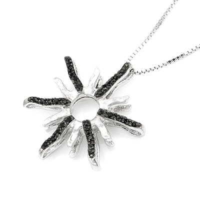 """Sunflower Pave Style Black CZ Crystal Accents 925 Sterling Silver Pendant (16"""") C05808N"""