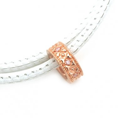 Silver Kings 925 Sterling Silver Pink CZ Stone Rose Golden Loop Charm Necklace Q23011N