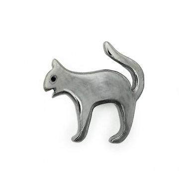 925 Sterling Silver Oxidized Black Cat Single Stud Earring Fashion Jewelry Women Girl Teen C05446L