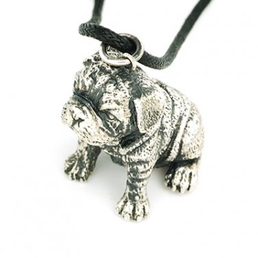 English Bulldog 925 Silver Pendant Leather Necklace Dog Puppy Pet Animal Q22578P