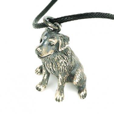 Doggie dog puppy Labrador Retriever 925 Silver Pendant Leather Chain Necklace Q22577P