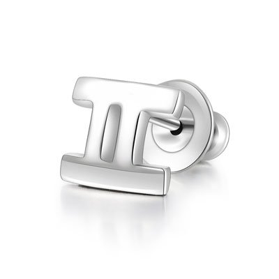 925 Sterling Silver Polished Zodiac Gemini Stud Single Earring Fashion Jewelry Women Girl C05660L