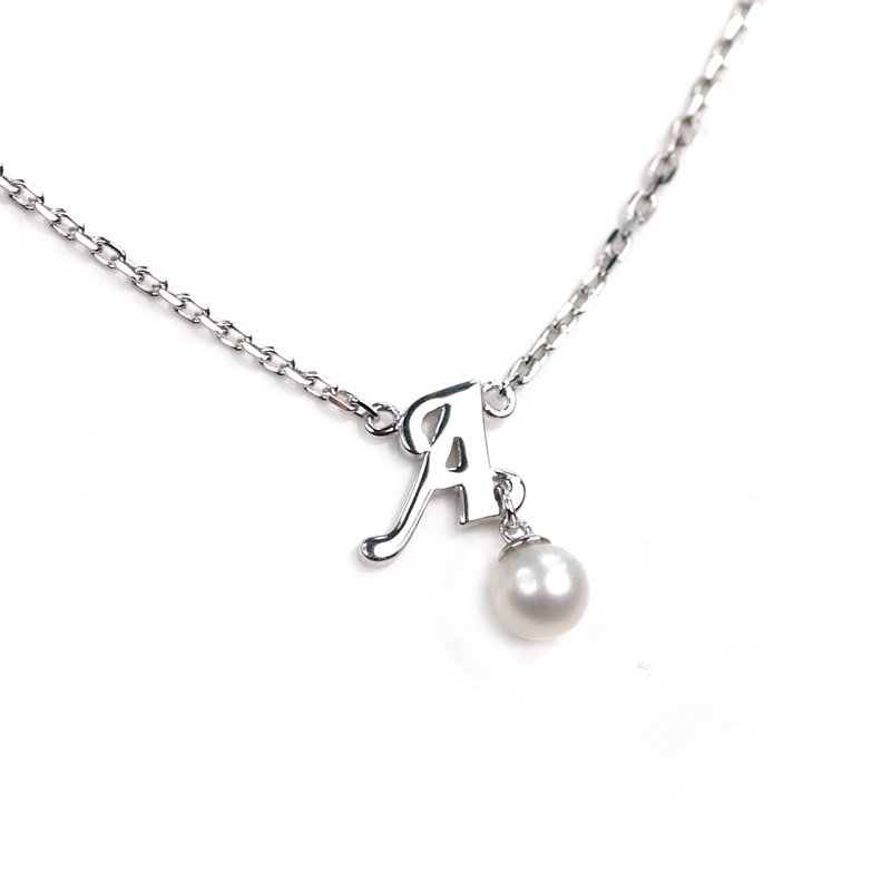 "925 Sterling Silver Initial Letter A Round Fresh Water 5mm White Pearl Necklace Girl, 16"" S06946N"