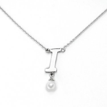"925 Sterling Silver Initial Letter I Round Fresh Water 5mm White Pearl Necklace Girl, 16"" S06946N"