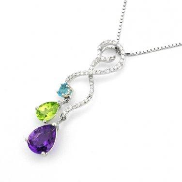 18K White Gold Gem Stone Diamond Pendant 925 Silver Necklace Valentine Q21035P