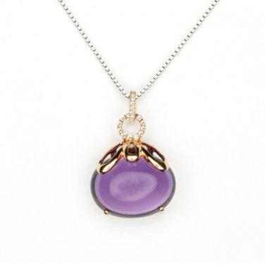 "18K Rose Gold Egg Shaped Amethyst Diamond Pendant 925 Sterling Silver Chain 16"" Valentine  Q21027P"