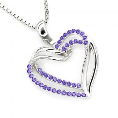 925 Sterling Silver Purple CZ Heart Necklace Valentine Anniversary 16'' Fashion Jewelry C05981N