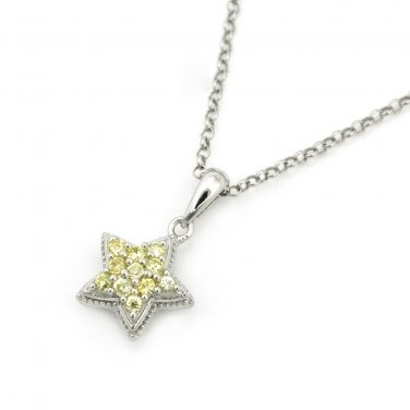 SilverKings 925 Sterling Silver Yellow CZ Star Necklace Birthday Fashion Jewelry 22' Q23007N