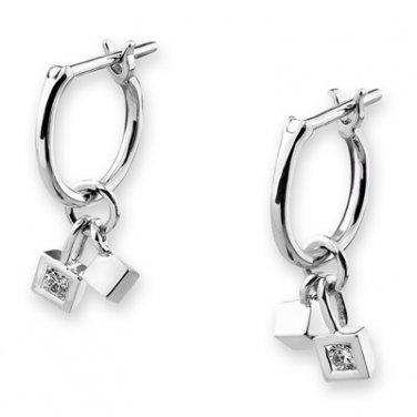 18K White Gold Cubes Dangling Diamond Solitaire Huggie Earrings (0.05cttw) F02778E