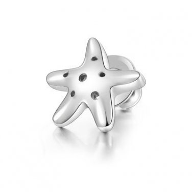 925 Sterling Silver Polished Sea Starfish Stud Single Earring Girl Fashion Jewelry C05668L