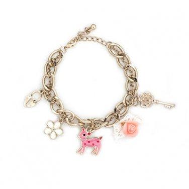 "Happiness Collection - Happy Deer Charm Bracelet 6.5"" (Deer, Rose, Key, Lock & White Flower) C06357B"