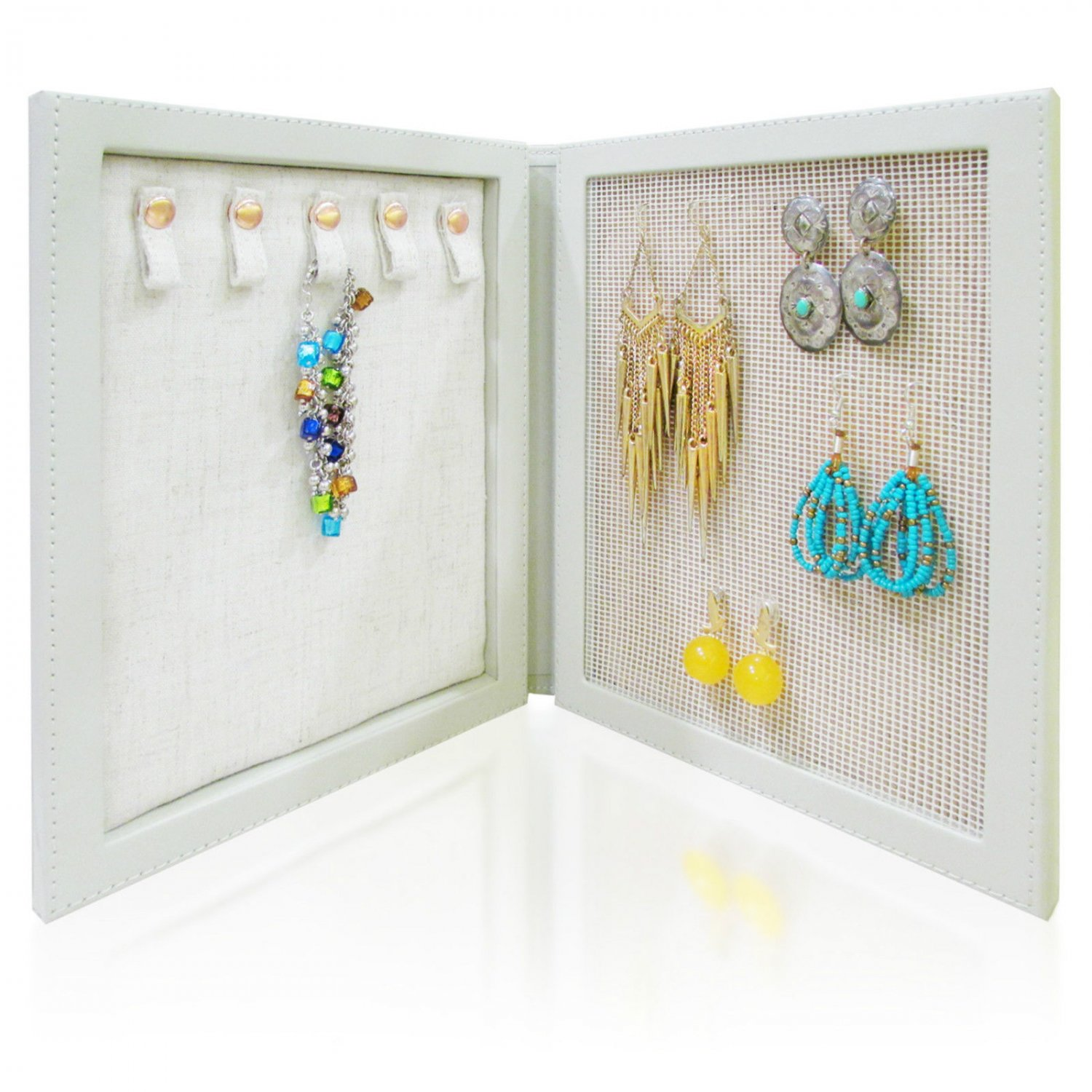 Travel Magnetic Jewelry Book Clutch Storage Organizer Case Box - Earrings Bracelet Necklace (Grey-O)