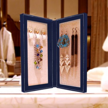 Travel Magnetic Jewelry Book Clutch Storage Organizer Case Box - Earrings Bracelet Necklace (Navy-M)