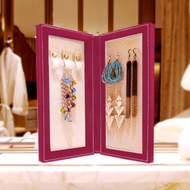 Travel Magnetic Jewelry Book Clutch Storage Organizer Case Box - Earrings Bracelet Necklace (Rasp-M)
