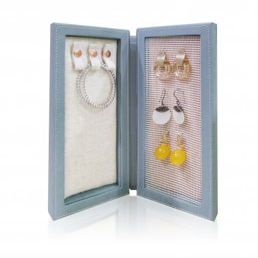 Travel Magnetic Jewelry Book Clutch Storage Organizer Case Box -Earrings Bracelet Necklace (Slate-M)