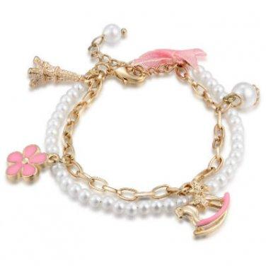 Rocking Horse Faux Pearl Charm Bracelet - Deer, Rose, Key, Lock & White Flower (6.5') C06358B