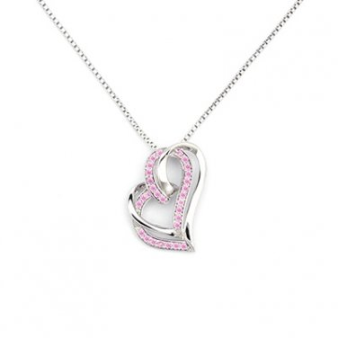 """925 Sterling Silver Pink CZ Double Heart Necklace (16"""") Valentines Gift C06577N"""