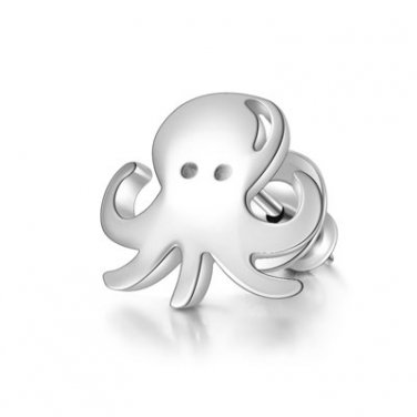 925 Sterling Silver Polished Octopus Squid Stud Single Earring Girl Fashion Jewelry C05669L