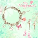 Jewelry Set The Happiness Collection - Star & Cat Earrings w/ Deer Charm Bracelet, Gift For Girls