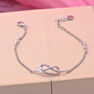 "925 Sterling Silver Infinity Bracelet 6.5"" Valentines Anniversary Girlfriend Couple Gift B05733B"