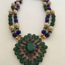Emerald Green And Sapphire Blue Beaded Glass Necklace