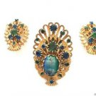 Weiss Vintage 1950's Rare Rhinestone And Enamel Peacock Brooch & Earrings