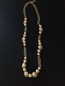 Givenchy Champagne 35 in  Faux Pearl & Rhinestone Necklace