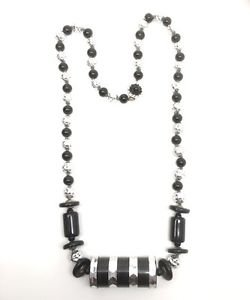 Miriam Haskell Vintage1960's  Black Glass And Silver Bead Necklace